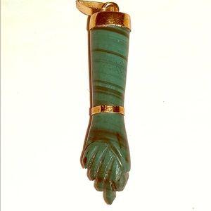 Green Arm Symbol Stone Pendant Necklace I Dunno